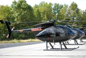 helicopter is Black with Red Letter and Tail Number N500LK